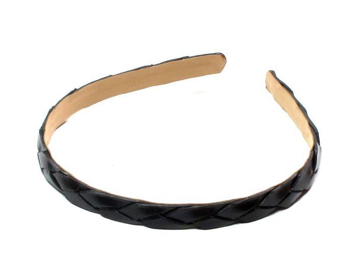 Sort flet læder hårbøjle - 1.3 cm