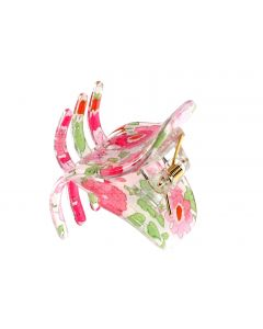 Blomstret fashion hårklemme - 9 cm