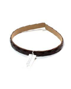 Mørkebrun flet læder hårbøjle - 1.3 cm
