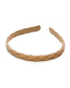 Beige flet læder hårbøjle - 1.3 cm