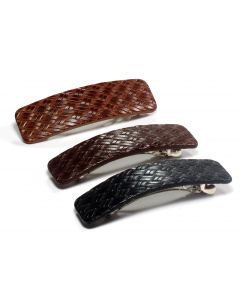 Tess læder hårspænde – 9 cm MAHOGNY